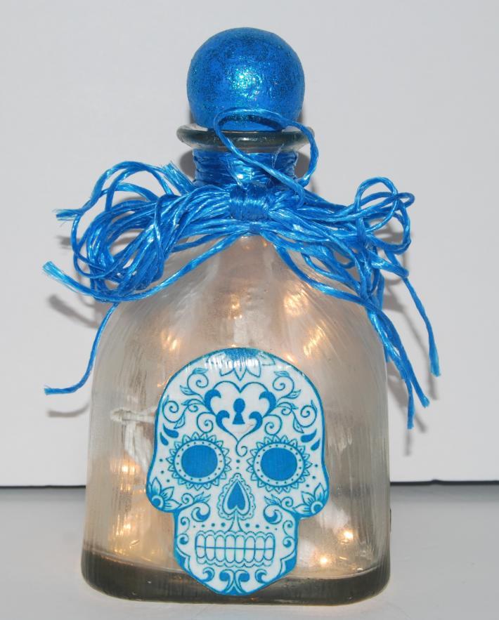 Patron bottle skull light blue