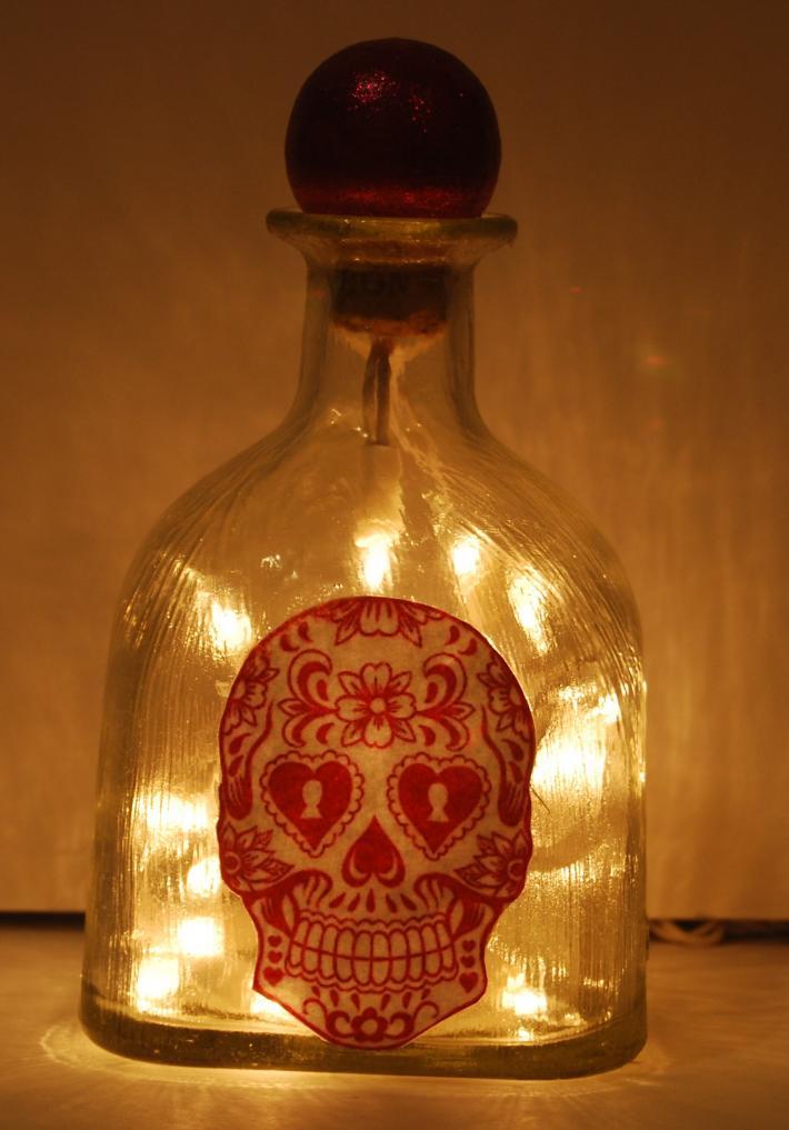 Patron bottle pink skull lght