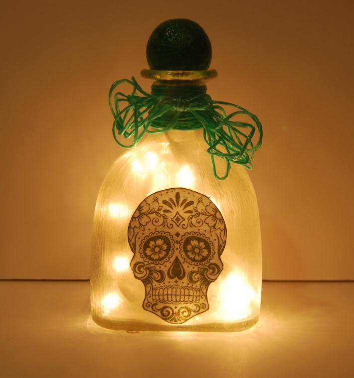Green patron bottle skull light