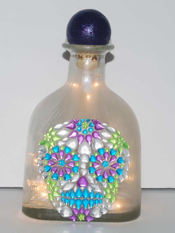 Purple patron bottle skull light