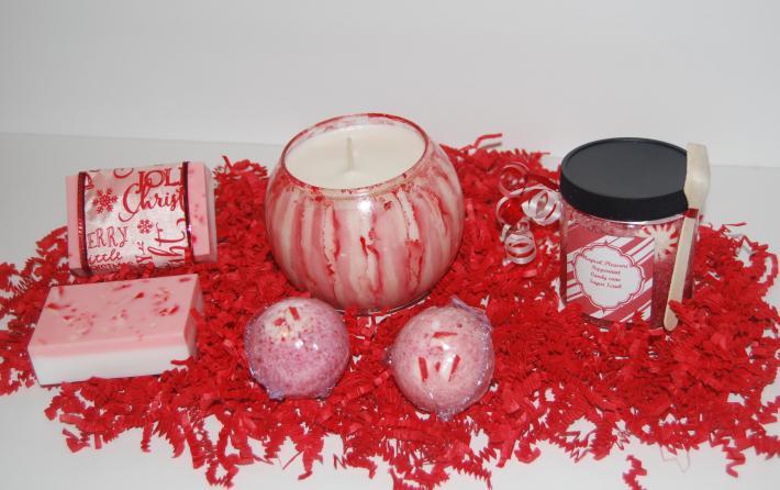 Peppermint Candy Cane Bath Set