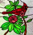 Cardinal and Rhododenron Stained Glass Panel