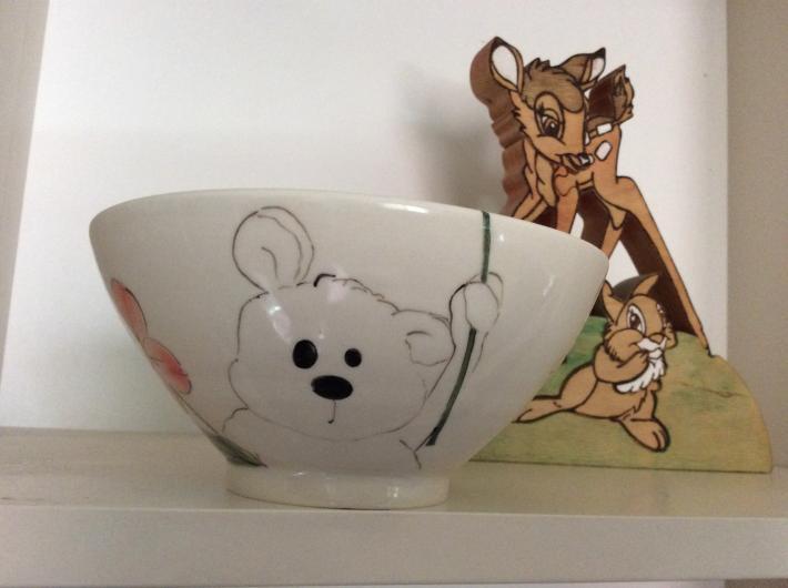 Hand thrown porcelain bowl Baby Bear holding flower parasol