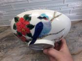 Bluebird hand thrown porcelain bowl