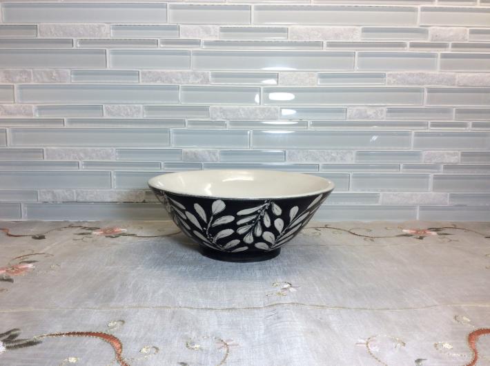 Porcelain hand thrown Tipu tree leaf bowl