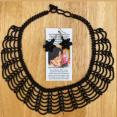 Handmade Shiny Black Necklace and Earrings Set