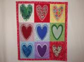 HEART  OF  HEARTS  WALL HANGING QUILTED