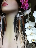 Big Long Full Earthy Goddess Feather Earrings