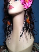 Very Long Colorful Grizzly Feather Earrings