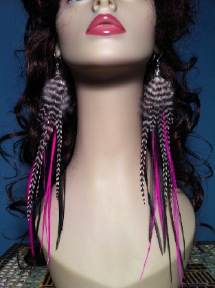 Long Hot Pink Black and Grizzly Feather earrings