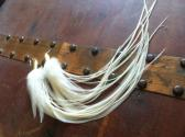 White Feather Earrings Long with Bullet Caps
