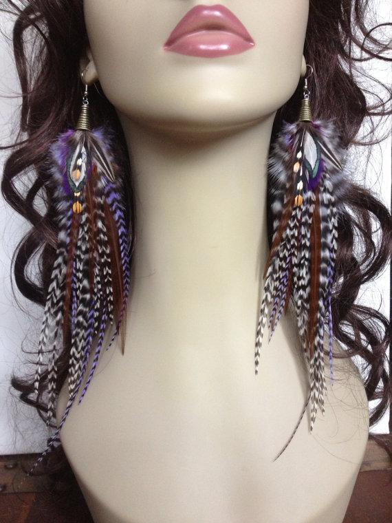 Grizzly Feather Earrings Purple White and Brown