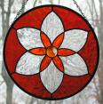 Stained Glass Orange Starburst Mandala Suncatcher