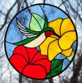 Ruby Throated Hummingbird Stained Glass Suncatcher