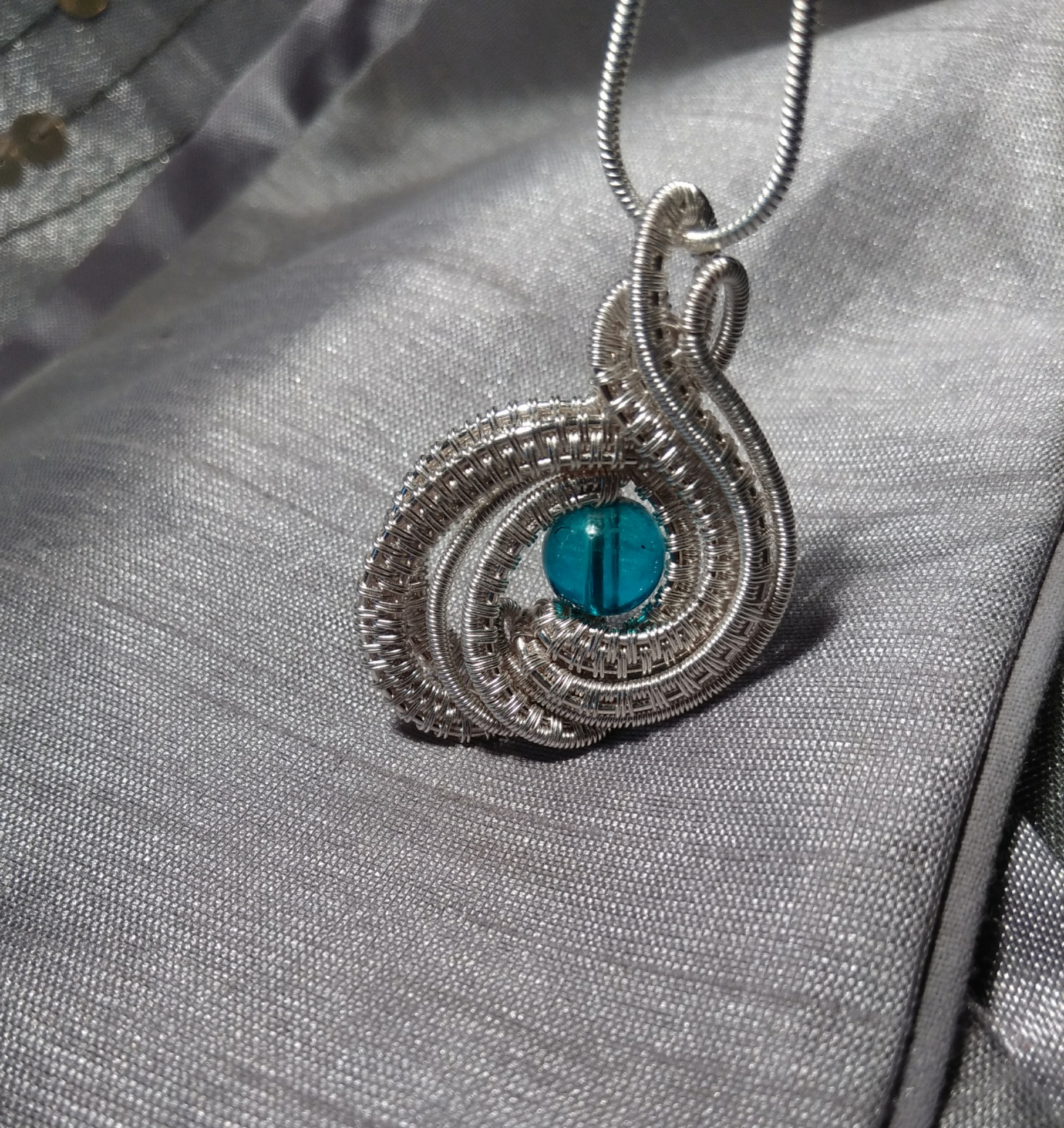 Wire wrapped pendant on Handmade Artists\' Shop