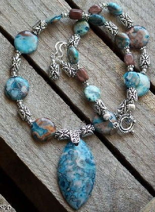 SALE  Crazy Lace Agate and Jasper Necklace and Earrings set