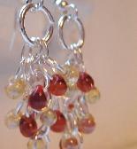 Amber Topaz and Ruby Dangle Earrings