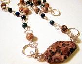 Leopard and Australian Sapphire Jasper Silver Link Necklace