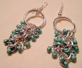Turquoise Chainmaille Beaded Drop Earrings
