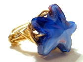 Gold Wire Wrapped Glass Star Ring