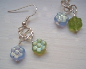 Blue and Green Glass Flower Silver Earrings