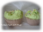 kids mint chocolate cupcake soaps. set of 2
