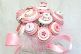 Pink Button Bouquet Flower Girl