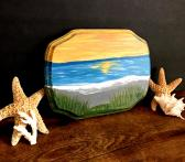 Beach Scene Wood Painting