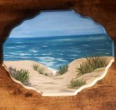 Wood Painting Beach Scene