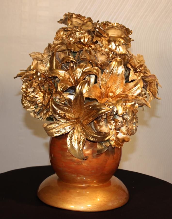 Faux Gold Geode with Silk Flower Arrangement