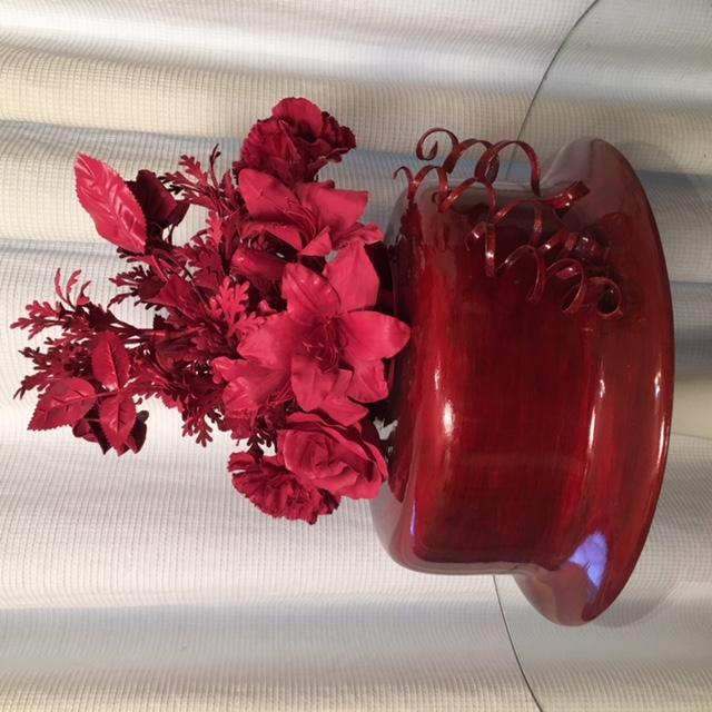 Beautiful Red Hat Vase with Red Silk Flowers