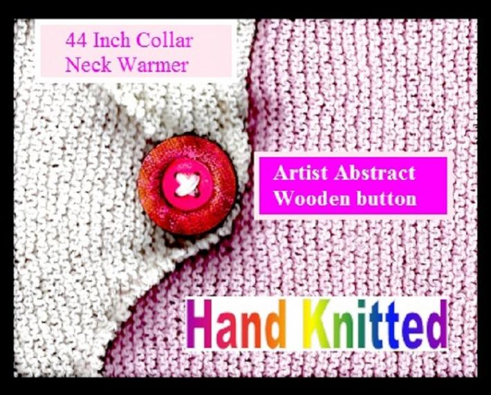 Pink and White Neck Warmer with Abstract Art Button
