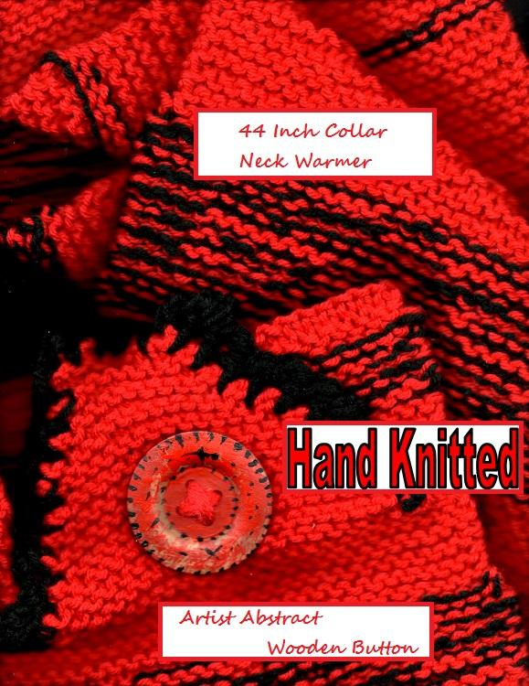Red and Black Hat and Neck Warmer    SET