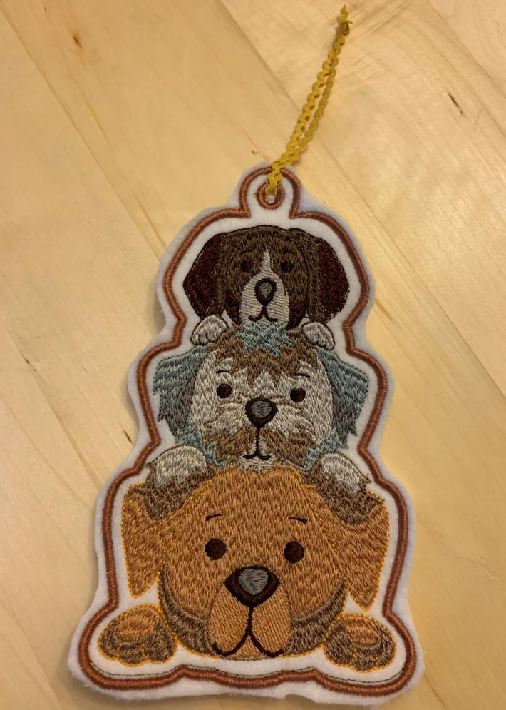 Embroidered Bookmark Three Dogs
