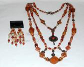Aztec Sun Wood and Jasper Necklace and Earring Set