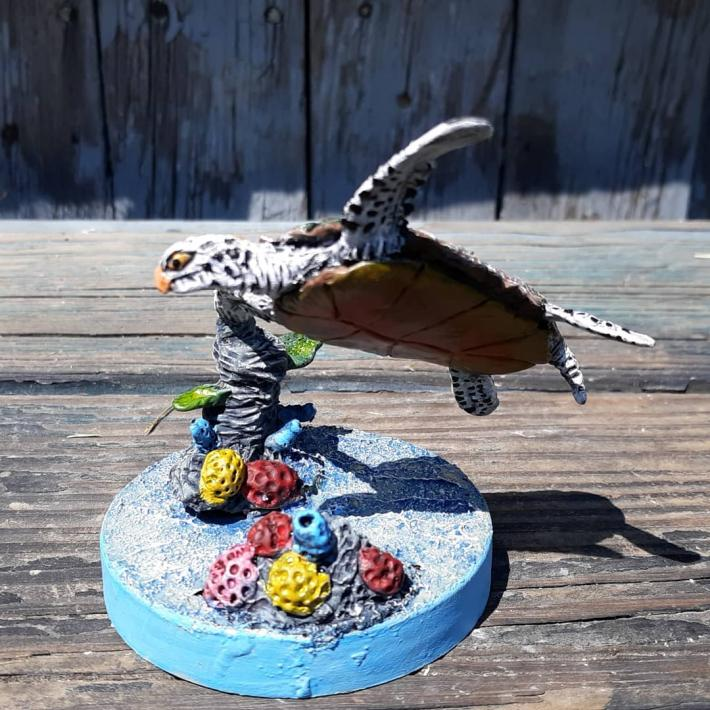 Swimming seaturtle wildlife figurine