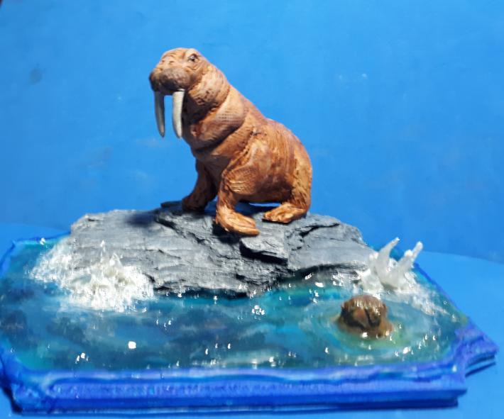 Handmade walrus sculpture wild life decor