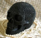 Beeswax Candle BIG Skull Shaped Candle in Black