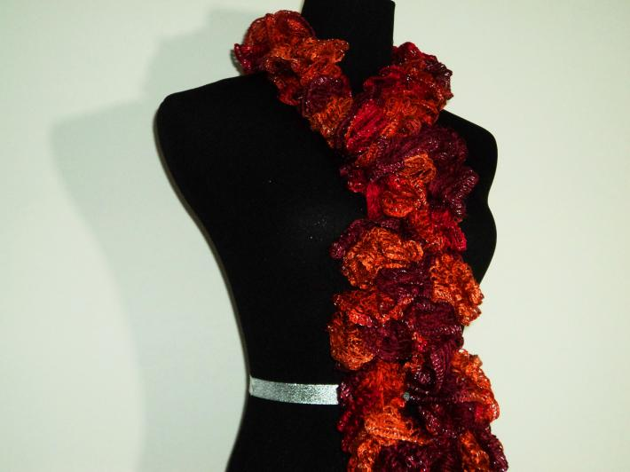Autumn Ruffle Scarf Red Orange Purple Fashion Scarf