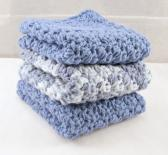 Crochet Blue Cotton Washcloth Set