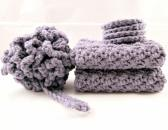 Crochet Bath Set  Purple Spa Set