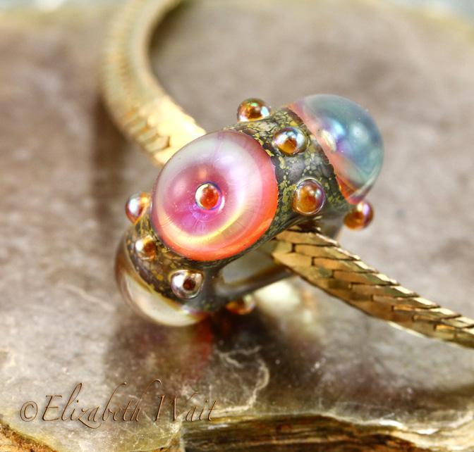Hot Peach 611 betsybeads Large Hole Handmade Lampwork Beads SRA