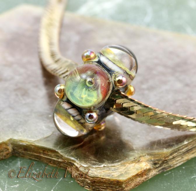Large Hole Bead Green Galaxy 0072 betsybeads Handmade Lampwork Glass Bead SRA
