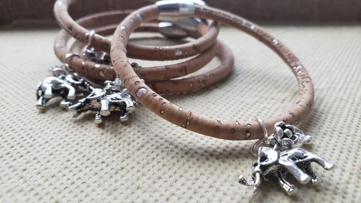 Cork Leather Elephant Bracelet