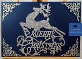 Navy Reindeer Merry Christmas Card