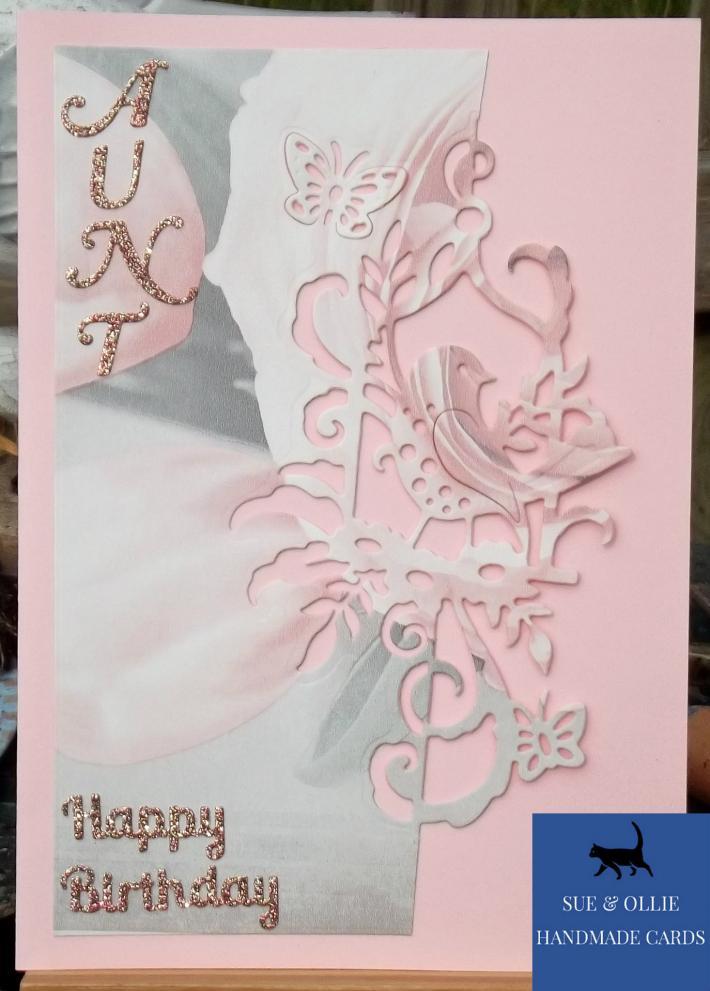 Pink Bird Aunt Birthday Card