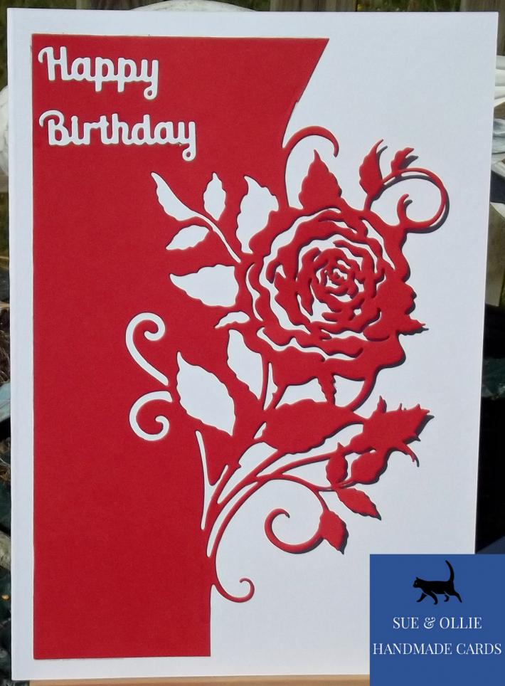 Red and White Rose Birthday Card