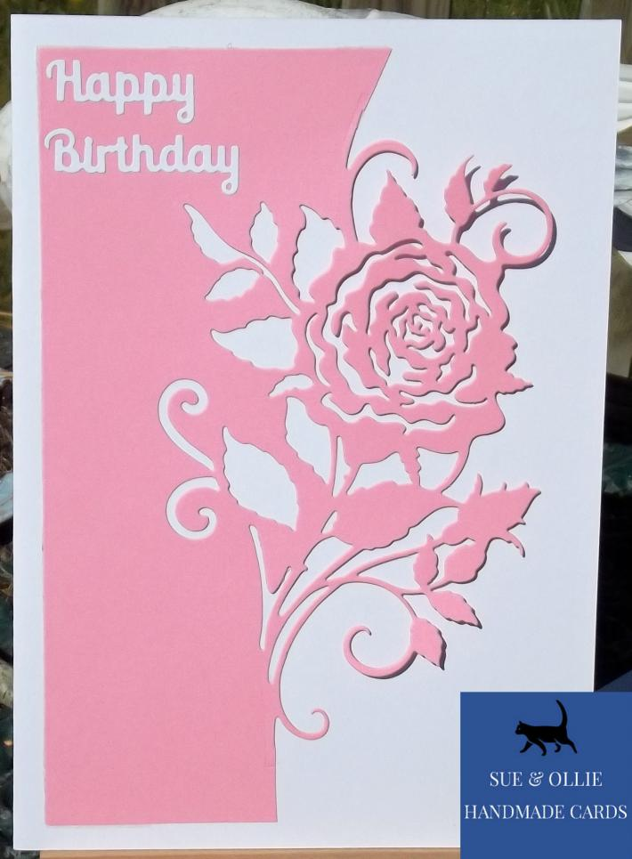 Pink and White Rose Birthday Card