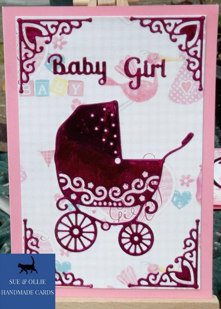 Pink Baby Girl Pram Card