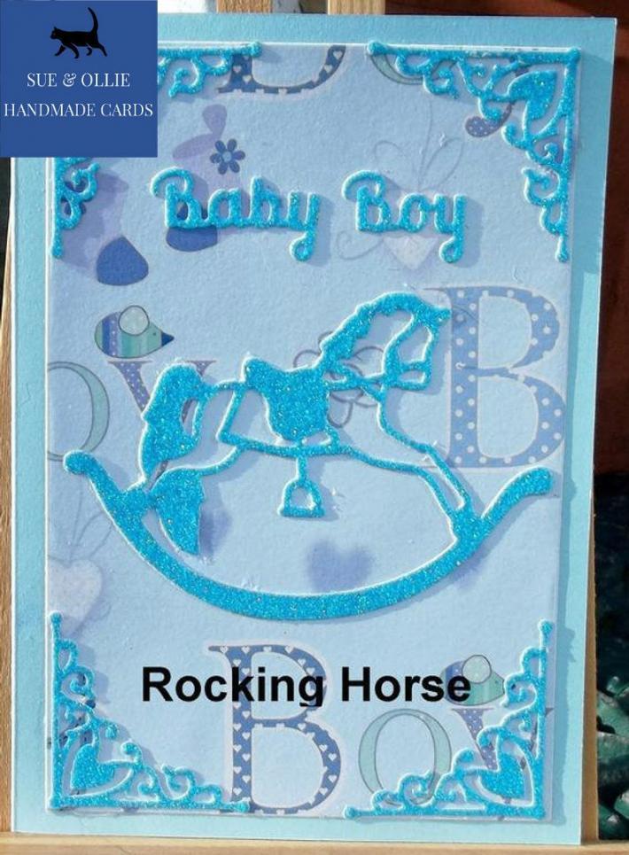 Blue Rocking Horse Baby Boy Card